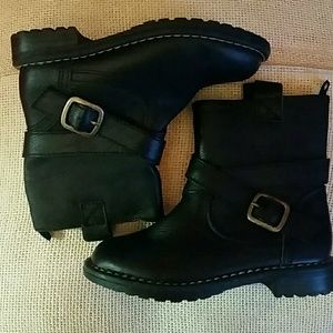NEW GAP KID, girl moto leather black boots size 11